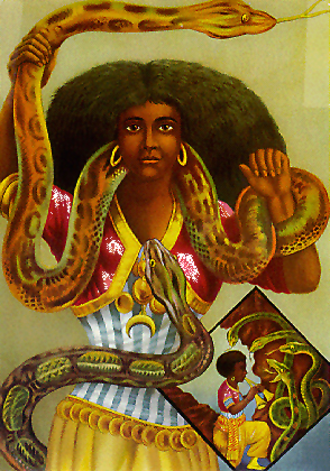 Loa - Printed in Hamburg in the 1880s, this poster of a snake charmer gave rise to the common image of the loa Mami Wata.