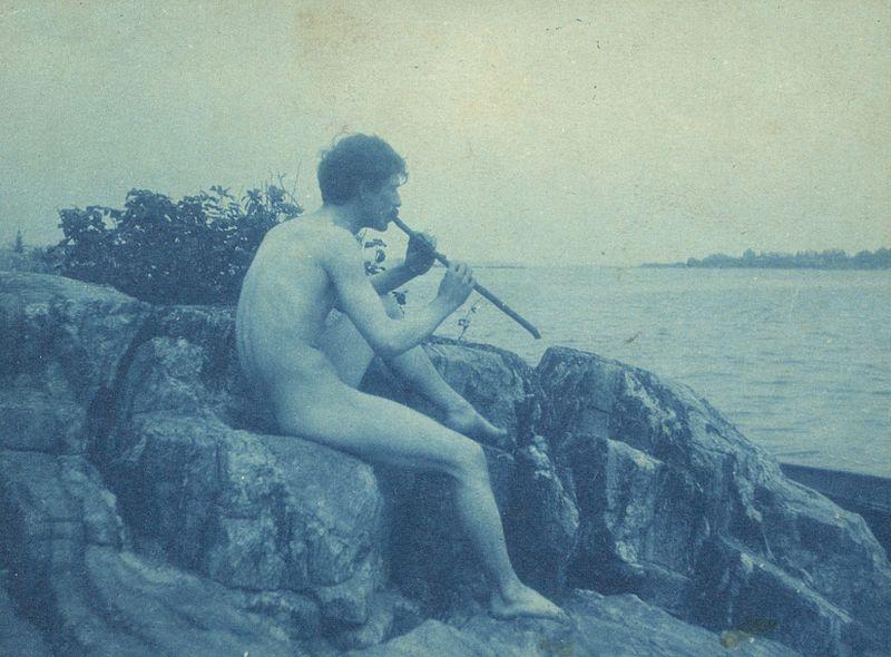 File:Man posed on rocks, nude, playing pipe (Pan), photograph by Frances Benjamin Johnston - LoC 04880u.jpg