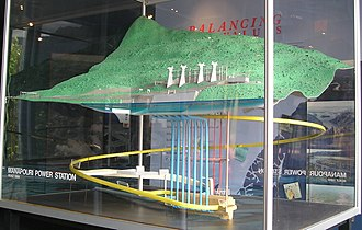 Manapouri Power Station - A 1:600 scale model of the Manapouri Power Station showing the pipes (blue) which transport water from the lake to the generators, and the vehicle tunnel (yellow) accessing the turbine hall