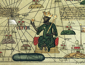 West Africa - Mansa Musa depicted holding a gold nugget from a 1395 map of Africa and Europe