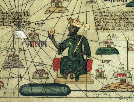 Mansa Musa depicted holding a gold nugget from a 1395 map of Africa and Europe Mansa Musa.jpg