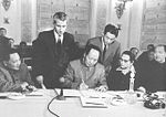 Mao Zedong signing the declaration of the Communist Party of socialist countries and the workers party conference.jpg
