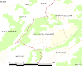 Mapa obce Saint-Loup-en-Comminges