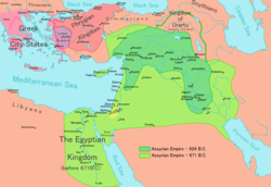 Map of the Neo-Assyrian Empire in 824 BC (dark green) and in its apex in 671 BC (light green) under King Esarhaddon
