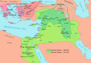 Χάρτης του Ασσυριακού κράτους μεταξύ 9ου και 7ου π.Χ. αιώνα.