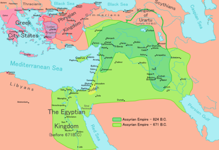 Neo-Assyrian Empire at its greatest extent - History of Palestine
