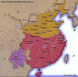 Map of the Song dynasty after the Jin conquest, the Jin is in control of northern China and the Song is in control of southern China