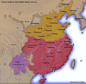 A map showing the territory of the Song dynasty after suffering losses to the Jin. The western and southern borders remain unchanged from the previous map; however, the northernmost third of the Song's previous territory is now under control of the Jin. The Xia dynasty's territory remains unchanged. In the southwest, the Song dynasty is bordered by a territory about a sixth its size, Nanchao.