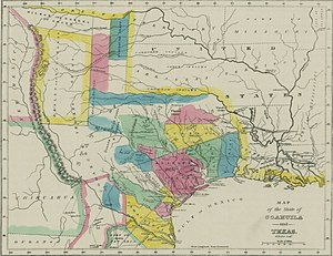 Mexican Texas - The State of Coahuila and Texas in 1833, showing the major land grants