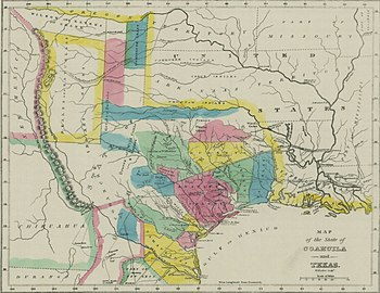 Map of Coahuila and Texas in 1833