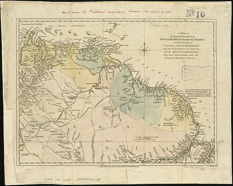 Archivo:Map of Dutch Guiana and of Curaçao, Bonaire, and Aruba, 1781.jpg