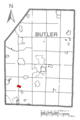 Map of Evans City, Butler County, Pennsylvania Highlighted.png