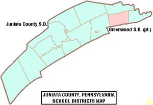Juniata County, Pennsylvania - Map of Juniata County, Pennsylvania Public School Districts