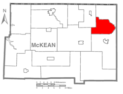 Map of McKean County, Pennsylvania highlighting Annin Township
