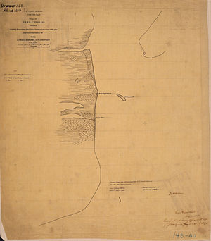 Pass Cavallo (Texas) - Civil War map  Showing the position of the Rebel fortifications and rifle pits