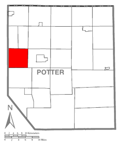 Map of Potter County, Pennsylvania Highlighting Roulette Township.PNG