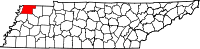 Map of Tennessee highlighting Obion County