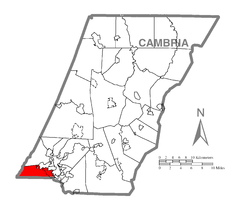 Map of Upper Yoder Township, Cambria County, Pennsylvania Highlighted.png