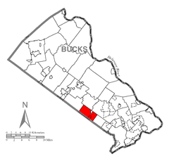 Map of Warminster Township, Bucks County, Pennsylvania Highlighted.png