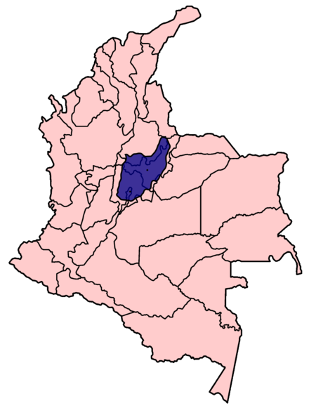 Location of the Muisca Confederation on the map of the Republic of Colombia. Mapa Imperio Muisca.PNG