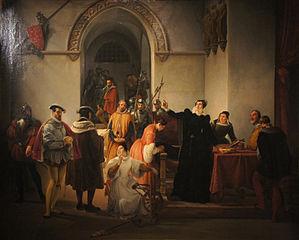 Marie Stuart protestant de son innocence à la lecture de sa condamnation à mort