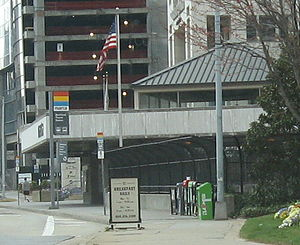 Buckhead station - One of The Buckhead Station's entrances as seen on State Route 141.