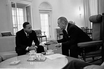 Lyndon B. Johnson, 36th President of the United States (1963-1969), meeting with Martin Luther King Jr. at the Oval Office in 1963 Martin Luther King, Jr. and Lyndon Johnson 3.jpg