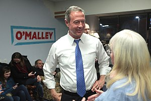 Martin O'Malley presidential campaign, 2016 - O'Malley speaking with supporters at a campaign event in Manchester, New Hampshire.