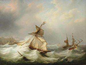 Martinus Schouman - Nederlandse en Britse schepen gevangen in ruwe zee.jpg