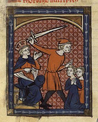 Gorgonius - The martyrdom of Gorgonius and Dorotheus,  14th century French manuscript.
