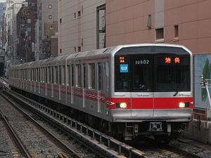 Tokyo Metro 02 series - Refurbished set 02-102 near Korakuen Station in March 2010