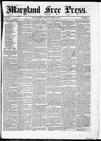 Maryland Free Press - Front page of the Maryland Free Press (Hagerstown, Md.), October 13, 1862. Via Chronicling America