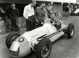 Jan Flinterman - Flinterman in the Maserati he drove at the 1952 Dutch Grand Prix