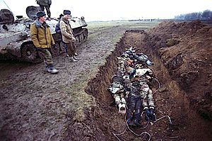 Second Chechen War - A mass grave in Chechnya