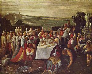 Giovanni Andrea Donducci - Mastelletta, Guests Eat at the Lakeshore, Galleria Nazionale d'Arte Antica, 1580