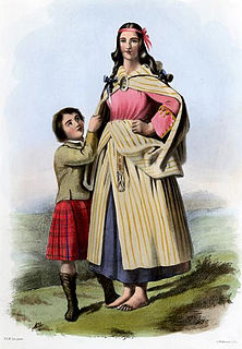 Earasaid draped garment worn in Scotland as part of traditional female highland dress