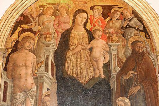 Matteo di Giovanni, Madonna in trono col bambino e santi, 1480 circa