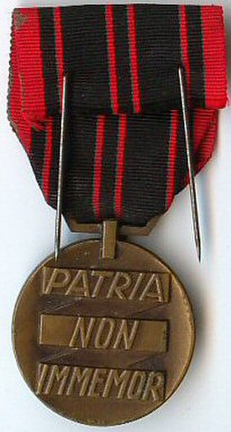 Resistance Medal - Reverse of the Resistance medal