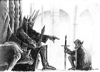 Dark Lord - Depiction of the Dark Lord Morgoth (left) and Sauron (right)