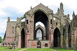 The modern ruins of Melrose Abbey. Founded in 1137, this Cistercian monastery became one of David's greatest legacies.