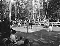 Men boxing in ring with crowd watching, probably at picnic, Bloedel-Donovan Lumber Mills, 1922 (INDOCC 1129).jpg