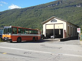 Mendrisio electric tramway depot in Capolago in October 2012.jpg