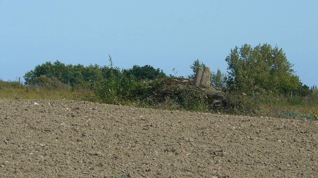 """Ce menhir couché, situé au lieu-dit l'Apéritif, s'appelle aussi Bag (ou Vag) Loc Tudy, soit le """"Bateau de Saint Tudy"""". Il a des cupules sur sa face cachée. Des pierres ont été déposées sur lui, vraisemblablement par les agriculteurs propriétaires du champs."""