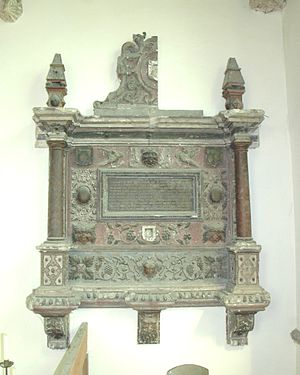 Merton, Oxfordshire - St Swithun's parish church: monument to Elizabeth Poole (died 1621), now mutilated and neglected