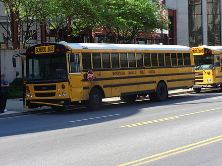 Thomas Saf-T-Liner EFX Metropolitan Nashville Public School bus in front of Country Music Hall of Fame.JPG