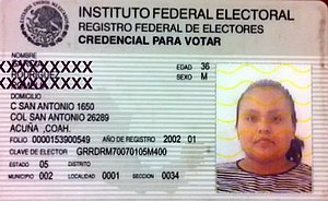 Voter registration - Voter ID card from Mexico.