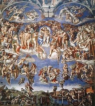Second Coming - The Last Judgment by Michelangelo (1541) in the Sistine Chapel, Rome.