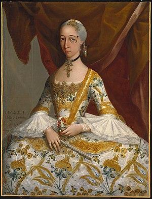 Petticoat - Doña María de la Luz Padilla y Gómez de Cervantes, by Miguel Cabrera, c. 1760. Oil on canvas. Brooklyn Museum