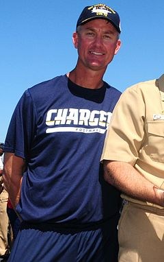 "Color photograph of tall white man (Mike McCoy), wearing a midnight blue San Diego Chargers t-shirt, matching practice shorts, and navy blue baseball cap emblazoned with ""USS Ronald Reagan""."