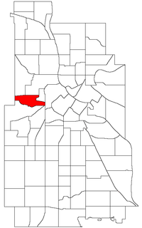 Location of Harrison within the U.S. city of Minneapolis